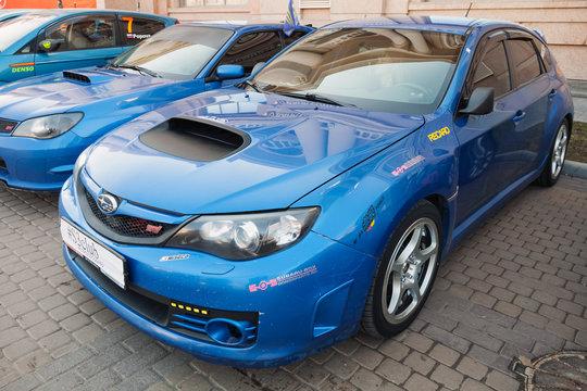 Blue Pre-facelift Subaru Impreza WRX STI car