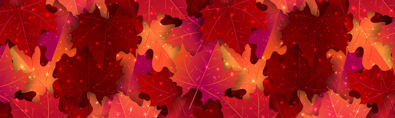 Autumn banner. Horizontal header with red and orange maple leaves and glowing sparkles. Vector illustration.