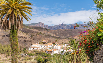 Wall Mural - Landscape with Fataga Village on Gran Canaria, Canary Islands, Spain