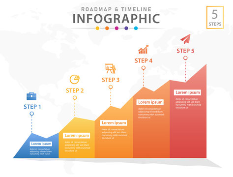 Infographic template for business. 5 Steps Modern Timeline diagram with graphs, presentation vector infographic.