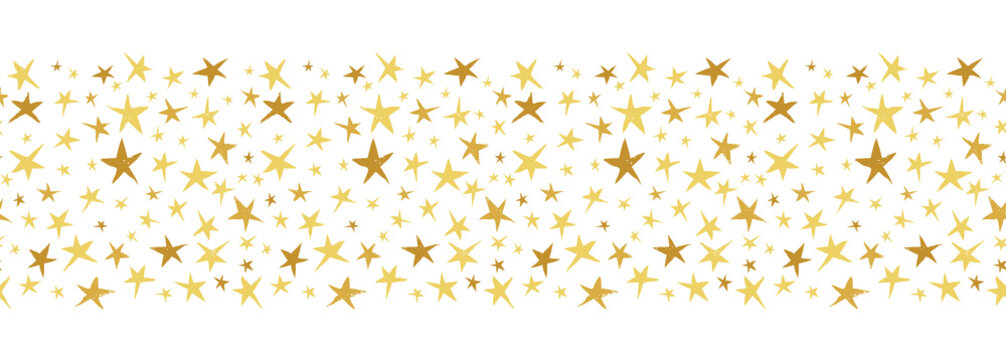 Linocut Gold and Yellow Stars on White Background Vector Seamless Border Pattern. Winter Christmas Hand Made Print