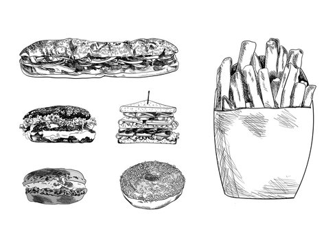 Vector Hand Drawn Fast Food Sketches Set, Drawings Collection, Burger, Sandwiches, Macaroon, Donut, French Fries.