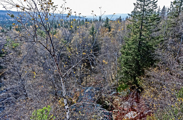 Fototapete - view from the observation deck near the Black rock and Taganay ridge in the southern Urals