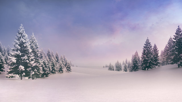White spacious landscape with snow covered plain and forest at sunrise