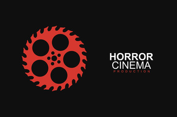 Horror film cinema logo vector logo template. Stylized movies reel and circular saw on black background. Entertainment logotype concept