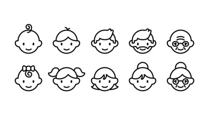 Icon set of different age groups of people from baby to elder (Cute simple art style)