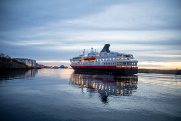 Coastal passenger ships arrive at Brønnøysund port in Nordland county