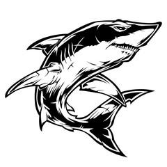 shark  angry Black vector illustrator