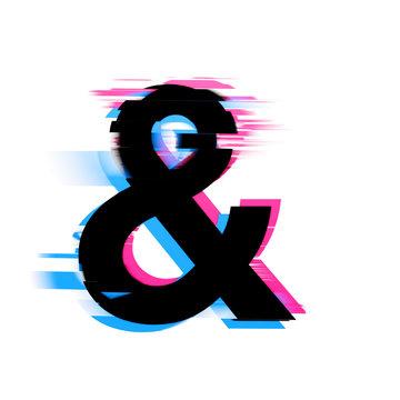 Ampersand distorted neon glitch effect text font. 3D Render