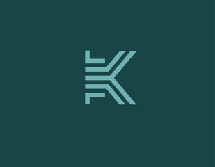 Creative geometric linear blue logo icon letter K typography for business company