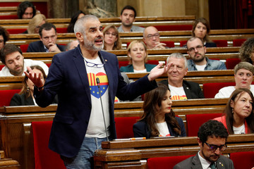 Carlos Carrizosa of Ciudadanos party speaks at the Parliament of Catalonia after Spain's Supreme Court jailed nine separatist leaders, triggering violent protests in the region, in Barcelona