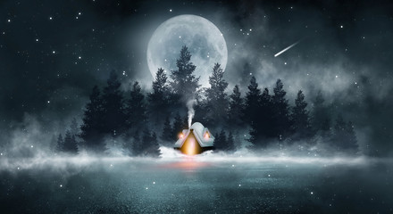 Winter night scene. Winter in the forest, a house in the mountains. Forest winter fairy tale. Dark night forest, big moon and snow, snowdrifts. Waiting for a Christmas miracle.