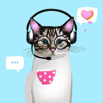 Call Center Cat. Cat with phone headset and with glasses and mug. isolated on white background. Customer Service. Customer Service Representative. Vector illustrations.