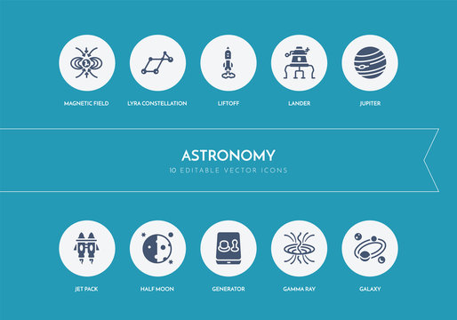 10 astronomy concept blue icons