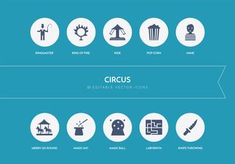 10 circus concept blue icons