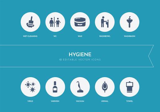 10 hygiene concept blue icons