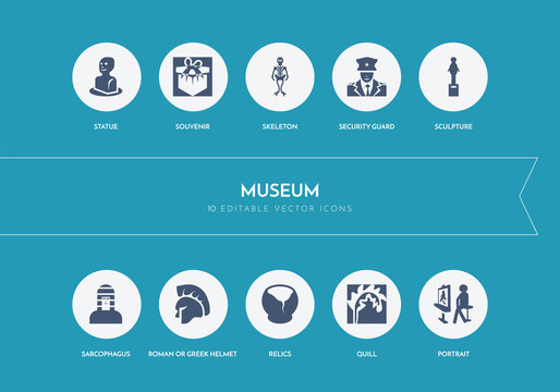 10 museum concept blue icons