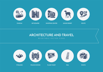 10 architecture and travel concept blue icons