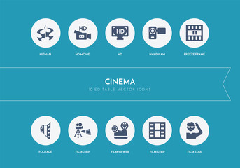 10 cinema concept blue icons