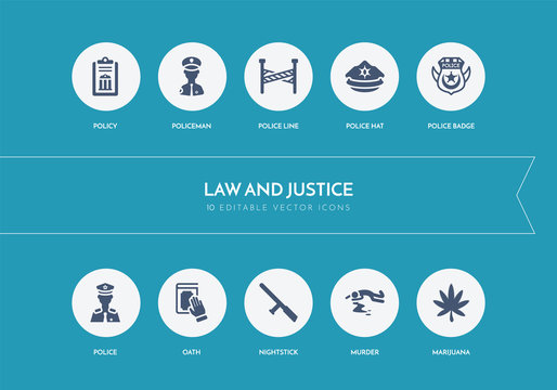 10 law and justice concept blue icons