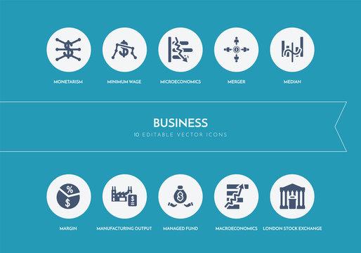 10 business concept blue icons