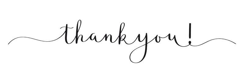 THANK YOU! black vector calligraphy banner