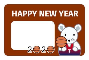 年賀状、年賀状2020、2020、ネズミ、子年、バスケットボール、はがきテンプレート、横書き、フォトフレーム