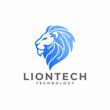 Lion Head Technology Logo Design Vector Illustration