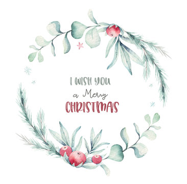 watercolor holiday christmas wreath. Winter decoration wreathselement. Merry christmas design. Pine tree branch, frame, berries. New year invitation decorative design
