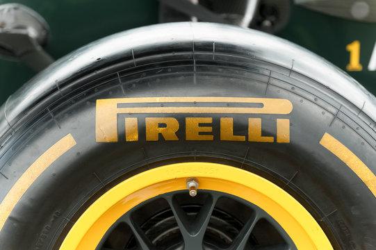 Closeup of a Pirelli tyre on a Formula 1 race car on static display in Farnborough, UK on July 15, 2012