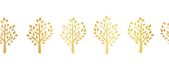 Gold foil tree silhouette seamless vector border. Repeating pattern for ribbon, banner, card design. Elegant art for party, celebration, holidays decoration Wall mural