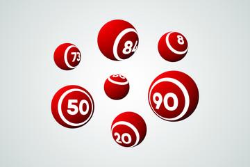 Red Bingo Balls Vector Illustration