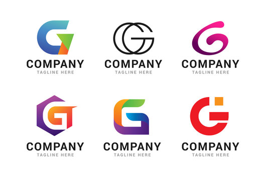 Set of letter G logo icons design template elements. Collection of vector sign symbol
