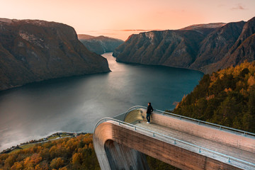 A Tourist Looks Over the Norwegian Fjords at Sunset from a Lookout Point in Fall