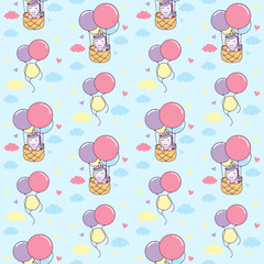 Unicorn ride basket with Air Balloon seamless pattern Illustration