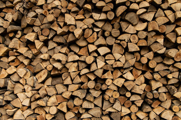 Poster Firewood texture fire wood type of fuel background textured stock place preparing for winter