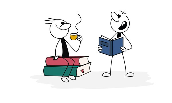 Doodle stick figure: Man with cup siting on stack of books, boy reading book. Hand drawn cartoon vector illustration for business and school design.