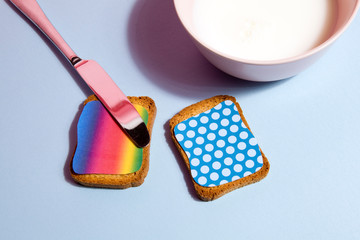 rainbow and dots rusk for breakfast