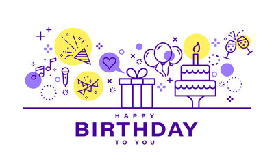 Birthday card design. Celebration party illustration. Party elements icons in line style on white background.