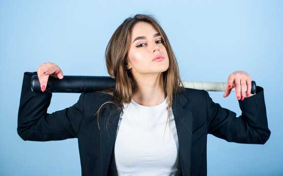 Business strategy. Aggressive business. Business lady boss. Decisive actions. Confidence and strength. Woman pretty girl bear formal jacket and hold baseball bat. Pretty and dangerous. Life game