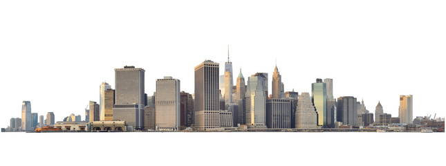 Spoed Foto op Canvas New York Manhattan skyline isolated on white.