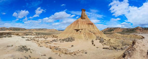 Castildetierra is a single rock eroded in the Spanish badlands Bardenas Reales.