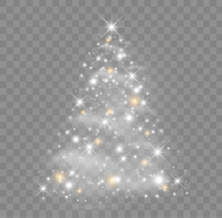 Shiny Christmas tree vector illustration with glowing particles and stars.