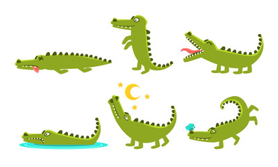 Crocodile Cartoon Character In Different Poses Set, Cute Amphibian Animal with Different Emotions Vector Illustration