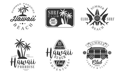 Surf Club Retro Logo Templates Set, Hawaii Beach Summer Paradise Badges Vector Illustration
