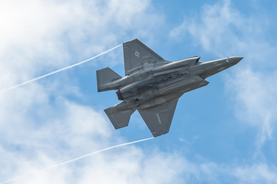 Low level aerobatics by a Lockheed Martin F-35B Lightning II in the skies over Farnborough, UK - July 5, 2016