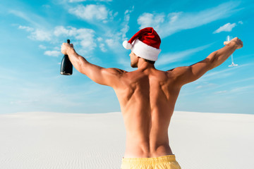 back view of sexy man in santa hat holding glass and bottle on beach in Maldives Wall mural