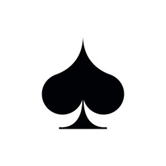 Poker playing card suit Spades outline shape single icon. Spades suit deck of playing cards used for ace in Las Vegas royal casino. Single icon illustration isolated on white. Drawing pic for tattoo.
