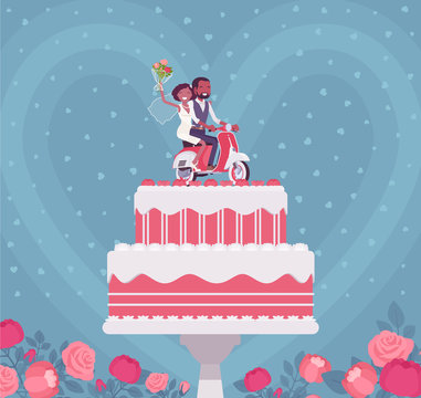 Two layer wedding cake with topper figures. Composition of black pair riding motor bike, cream, frosting for special day party, decoration elements to surprise. Vector flat style cartoon illustration