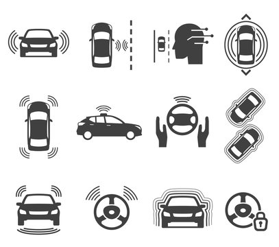 Autonomous smart car glyph icons vector set